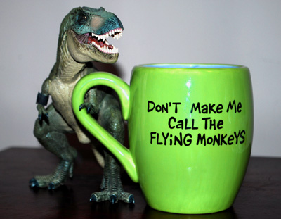 T-Rex with Coffee Cup