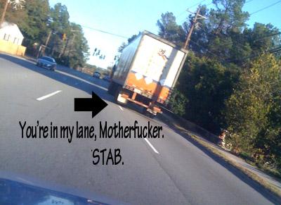 Truck in my lane